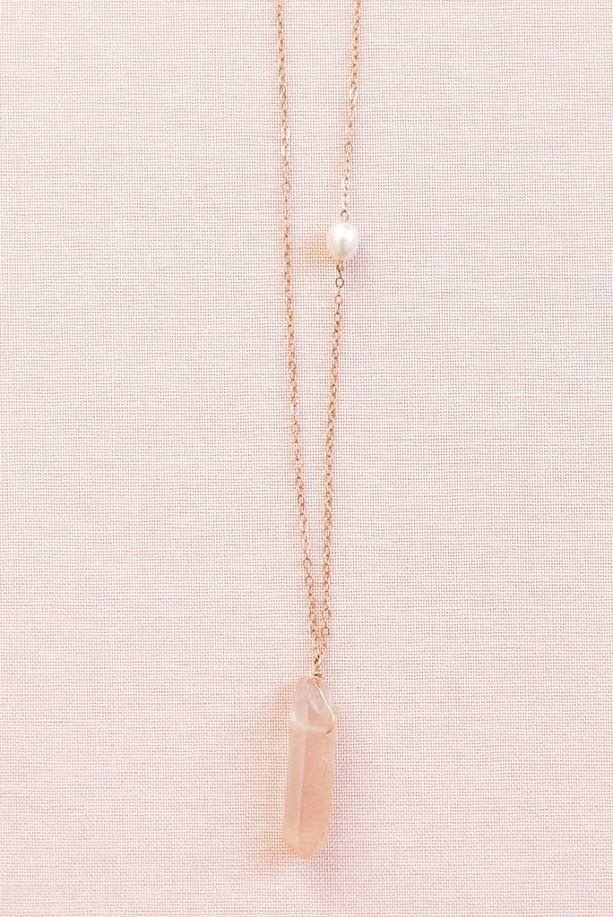 Raw crystal spike necklace, pink and rose gold crystal spike necklace, rose quartz spike necklace by J'Adorn Designs custom jeweler
