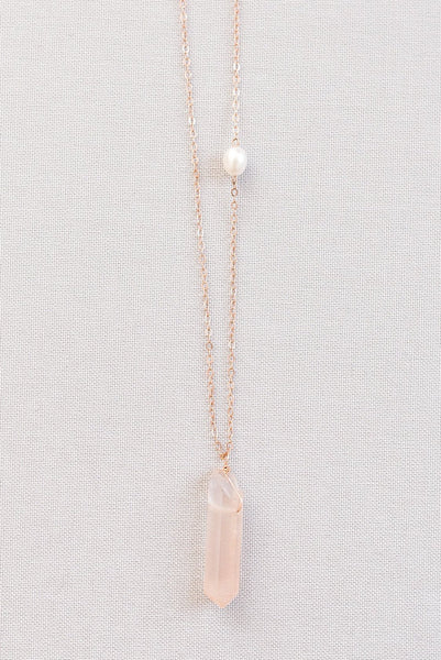 Pink Crystal Spike Necklace with Freshwater Pearl Accent in Rose Gold