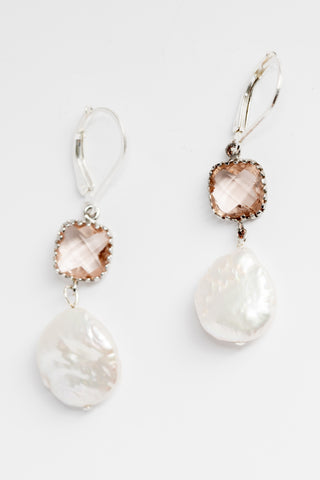 Sterling silver alternative bridal earrings, blush and white wedding jewelry, natural freshwater pearl drop earrings by J'Adorn Designs handcrafted jewelry