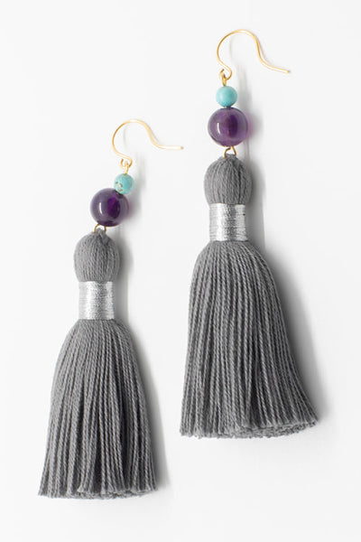Tassel & Gem Earrings in Dark Grey & Purple and Turquoise