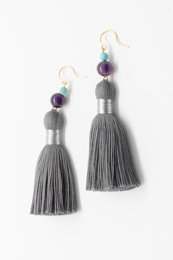 Dark grey tassel earrings, luxury fashion jewelry, tassel earrings in neutral colors with gemstones in purple and turquoise, tassel jewelry by J'Adorn Designs handcrafted jewelry made in Maryland