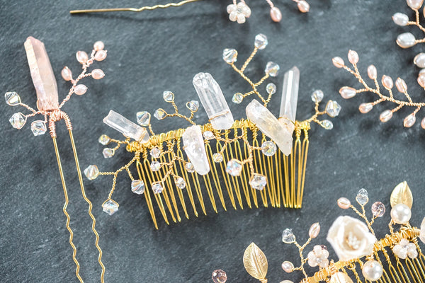 Raw Crystal Spikes Bridal Comb