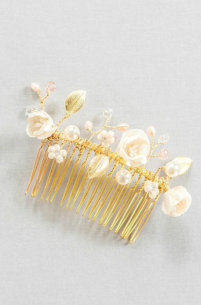 Realistic flower headpiece, wedding headpiece, bridal hair accessories, flower bridal hair comb, couture bridal accessories, silk wedding flower accessories by J'Adorn Designs custom jewelry and modern bridal accessories