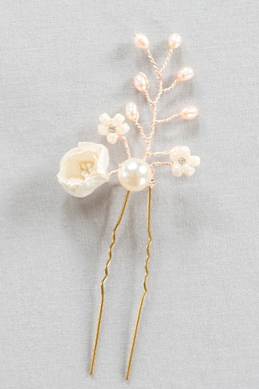 Ivory and gold floral bridal hair pin, realistic floral headpiece, freshwater pearl hair accessory, garden wedding hairpin, J'Adorn Designs custom jewelry and bridal accessories