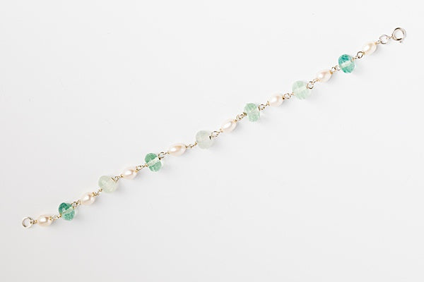 Green fluorite gem and sterling silver freshwater pearl link bracelet with wire wrapping; Handcrafted gemstone bracelet by J'Adorn Designs custom jewelry