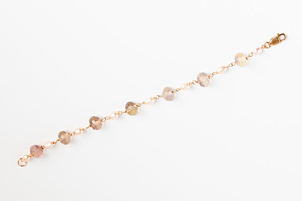 Purple fluorite gemstones and pink freshwater pearls link bracelet in rose gold, handcrafted jewelry by J'Adorn Designs