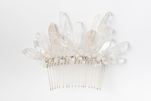 Crystal spikes hair comb, alternative bridal headpiece with crystal quartz spikes in silver, J'Adorn Designs custom jewelry