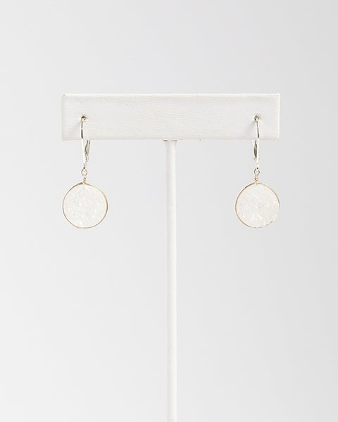White druzy gemstone earrings in sterling silver, handcrafted jewelry by J'Adorn Designs