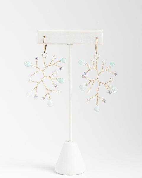 Handcrafted gemstone statement earrings, aquamarine and freshwater pearl branch earrings in gold, lightweight handcrafted earrings by J'Adorn Designs artisan jewelry