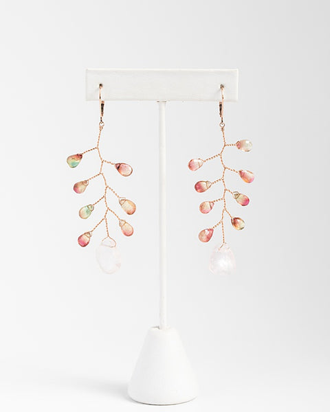 Delicate branch earrings in rose gold with watermelon tourmaline teardrops and rough rose quartz drop, fine handcrafted earrings by J'Adorn Designs custom jewelry and modern bridal accessories
