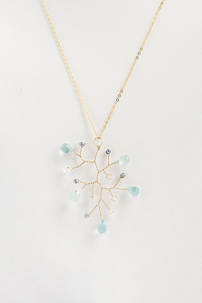 Aquamarine teardrop branch necklace with freshwater pearls and crystals, 18 inch gold necklace with aquamarine pendant, handcrafted gemstone necklace by J'Adorn Designs artisan jewelry