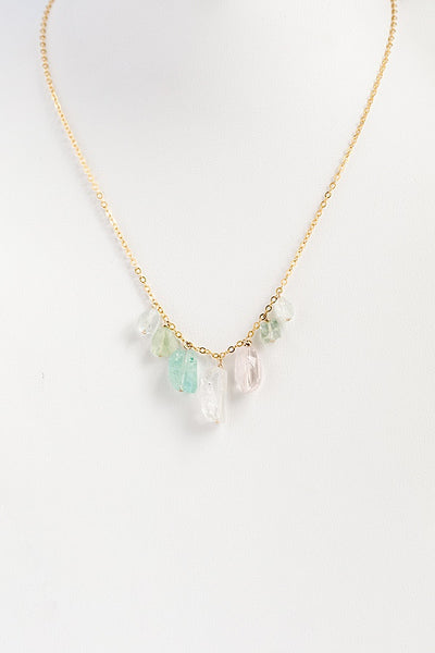 Rainbow gemstones delicate gold necklace, seven colorful tourmaline gemstones on a delicate gold chain, handcrafted necklace by J'Adorn Designs custom jeweler