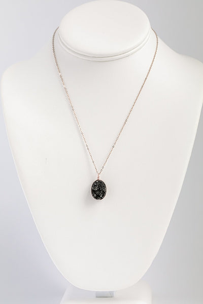Black Druzy Necklace in Rose Gold