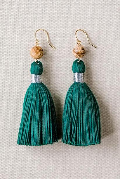 Dark green tassel earrings, green and brown tassel earrings, high quality tassel jewelry, summer jewelry trends, gemstone tassel earrings, by J'Adorn Designs custom jewelry made in Baltimore Maryland