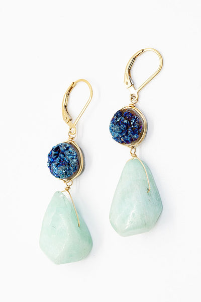 Blue & Aqua Druzy Drop Earrings in Gold