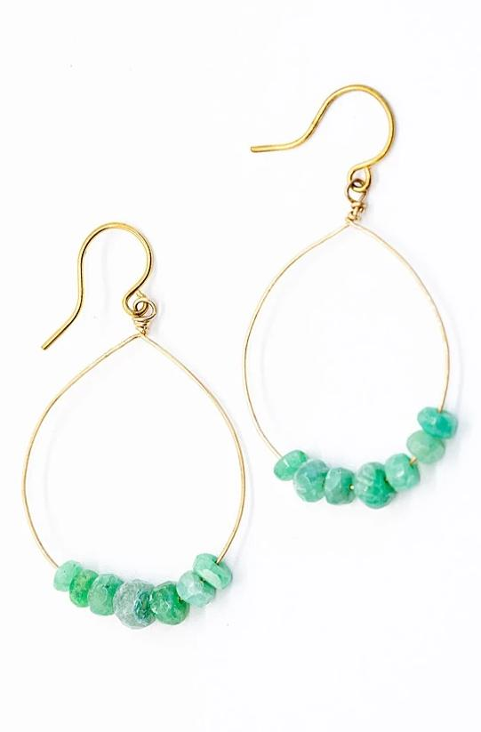 Gold Hoop Earrings with Emeralds