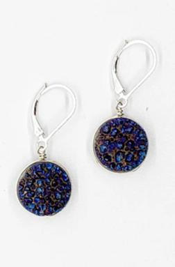 Violet Druzy Earrings in Silver