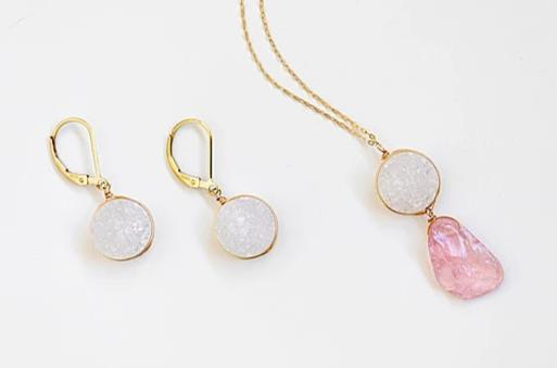White Druzy Earrings in Gold