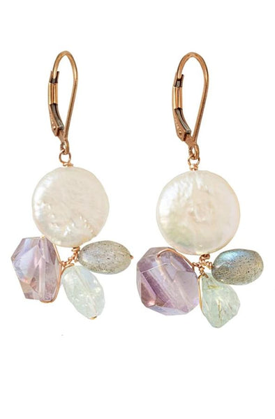 Gem & Pearl Cluster Earrings in Rose Gold