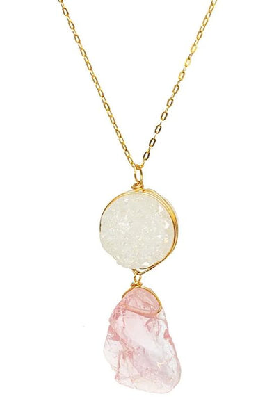 White Druzy & Rose Quartz Necklace