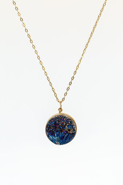 Violet Druzy Necklace in Gold