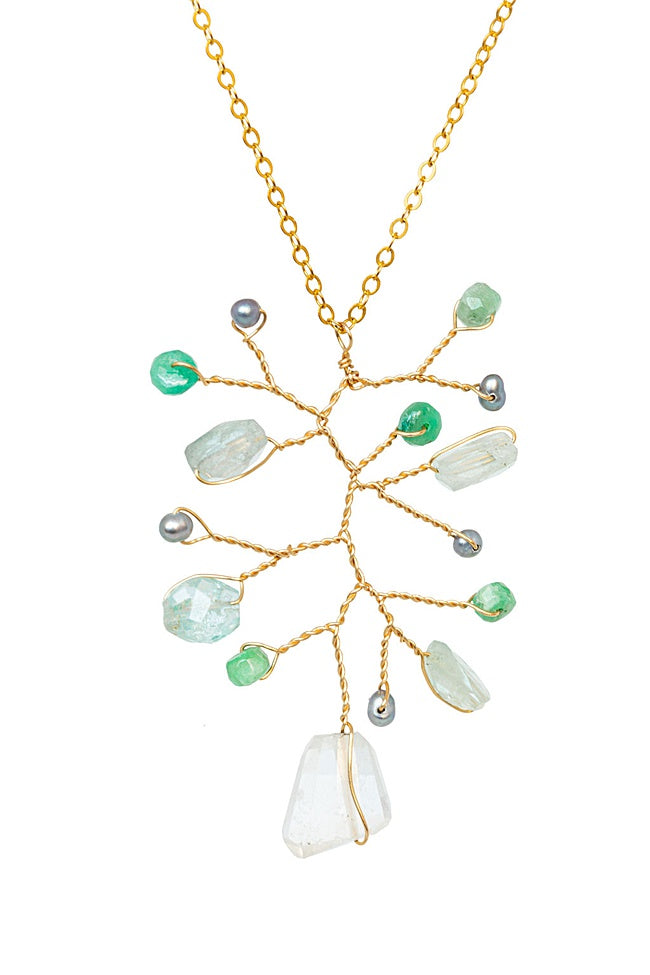 New Leaf Gemstone Branch Necklace