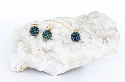 Teal Druzy Necklace in Gold