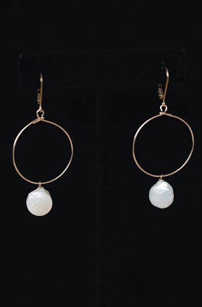 Gold Hoop Earrings with Freshwater Pearl Drops