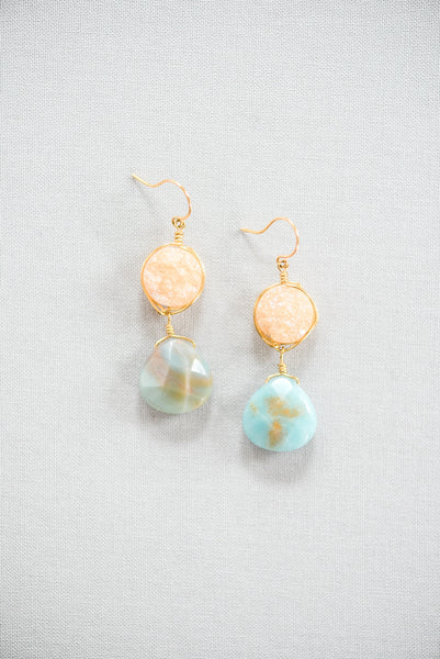 Gold druzy and light blue gemstone teardrop amazonite, artisan statement earrings handcrafted in Baltimore by J'Adorn Designs custom jeweler