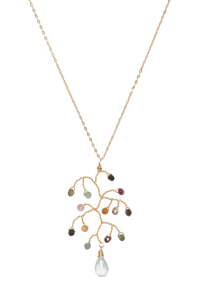 The Tree of Life Necklace: a delicate tourmaline and aquamarine necklace with an abstract tree pendant for luxury fashion or a jewelry gift idea. Artisan jewelry and luxury bridal accessories handmade in Maryland by Alison Jefferies of J'Adorn Designs.