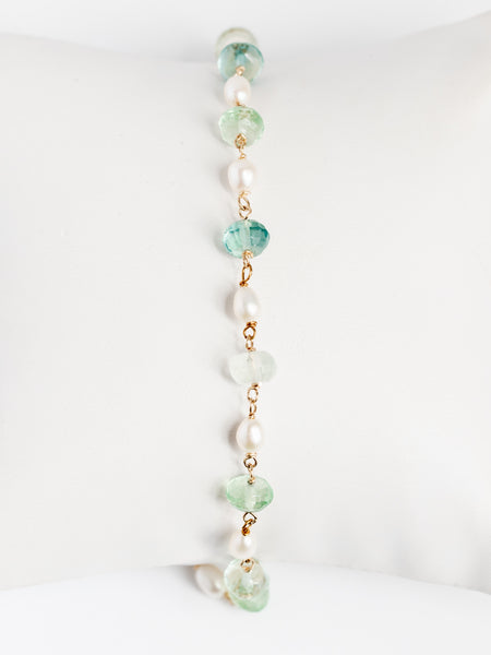 Green fluorite gem and gold freshwater pearl link bracelet with wire wrapping; Handcrafted gemstone bracelet by J'Adorn Designs custom jewelry