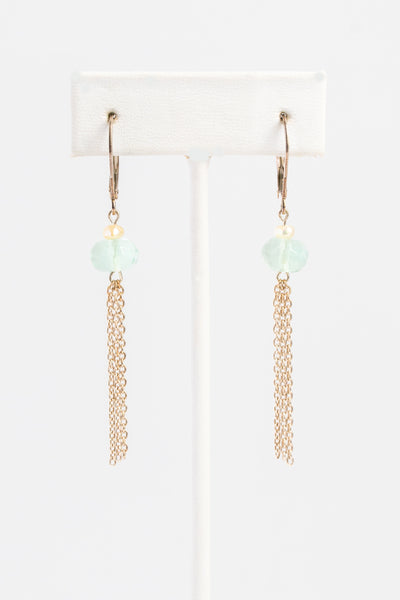 Green fluorite gem and white freshwater pearl chain tassel earrings with yellow gold chain tassels; Handcrafted lightweight gemstone earrings by J'Adorn Designs custom jewelry