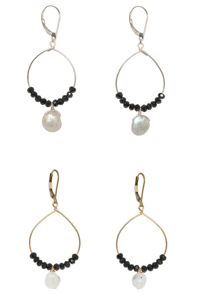Two pairs of fine handcrafted hoop earrings. A pair of black and gold handcrafted hoop earrings with another pair of silver hoops with labradorite drops. Delicate gold and silver hoops for luxury fashion or a jewelry gift idea. Artisan jewelry and luxury bridal accessories handmade in Maryland by Alison Jefferies of J'Adorn Designs.