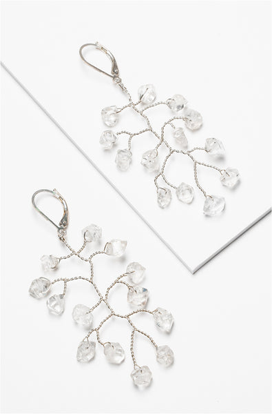 Modern freeform branch earrings in sterling silver with herkimer diamond crystal quartz gemstone accents. Lightweight bridal earrings for a modern wedding by J'Adorn Designs custom jewelry.