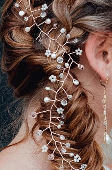 Close view of rose gold pearl and crystal hair vine by J'Adorn Designs handcrafted jewelry & bridal accessories