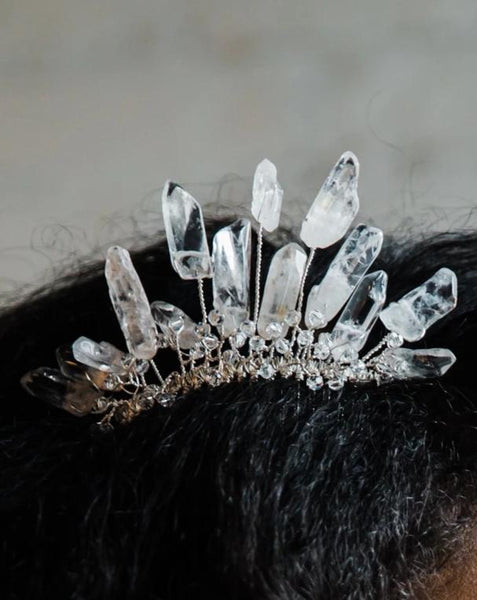 Crown of Ice Hair Comb for bridal fashion and special occasions, by J'Adorn Designs handcrafted jewelry and hair accessories