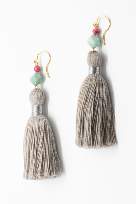 Light grey tassel earrings, luxury fashion jewelry, tassel earrings in neutral colors with gemstones in pink and aqua blue, tassel jewelry by J'Adorn Designs handcrafted jewelry made in Maryland