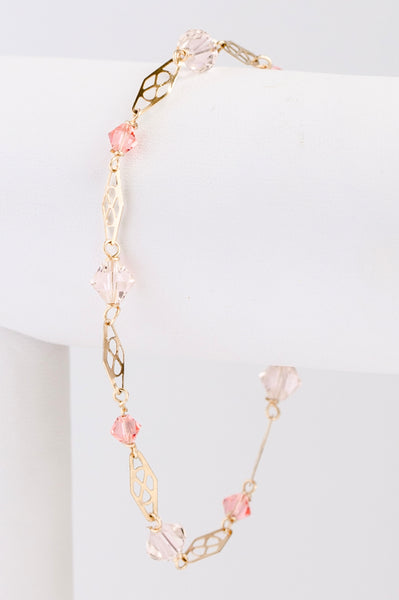 Living coral bracelet, delicate gold link bracelet with Swarovski crystals, J'Adorn Designs custom jeweler