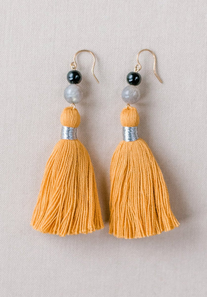 Mustard yellow tassel earrings, yellow and grey tassel earrings, high quality tassel jewelry, summer jewelry trends, gemstone tassel earrings, by J'Adorn Designs custom jewelry made in Baltimore Maryland