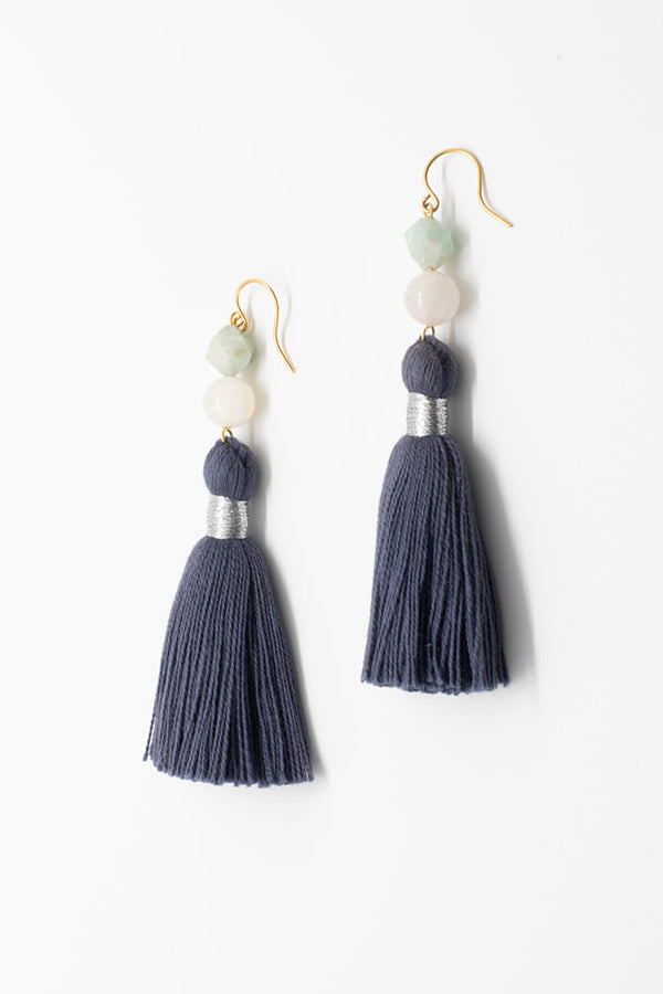 Navy blue tassel earrings, luxury fashion jewelry, tassel earrings in neutral colors with gemstones in white and aqua blue, tassel jewelry by J'Adorn Designs handcrafted jewelry made in Maryland