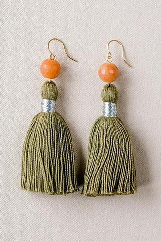 Tassel & Gem Earrings in Olive & Amber