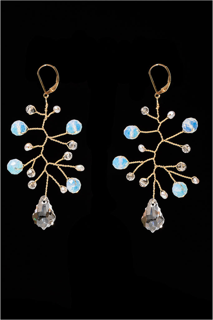Sparkling freeform branch earrings in gold with opalite gemstones, freshwater pearls, and swarovski crystals. Lightweight bridal earrings for a modern wedding by J'Adorn Designs custom jewelry.