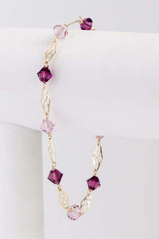 Amethyst and lilac purple bracelet, delicate gold link bracelet with Swarovski crystals, J'Adorn Designs custom jeweler