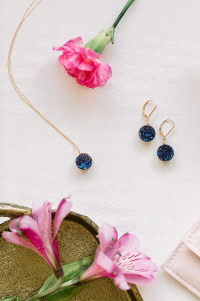Violet Druzy Earrings in Gold