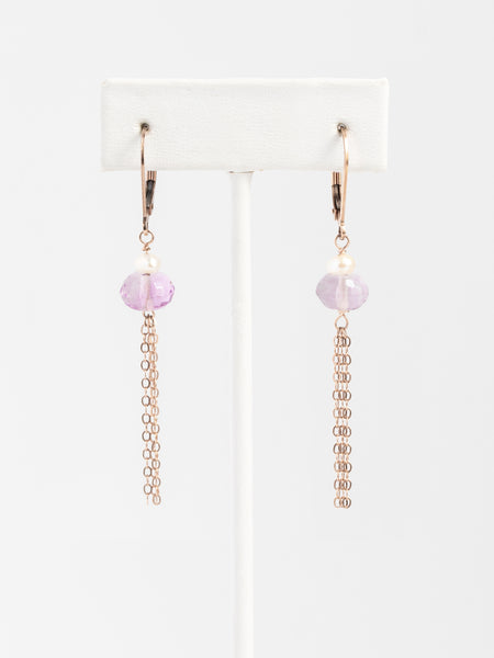 Lightweight tassel earrings for sensitive ears, purple fluorite and freshwater pearl earrings with rose gold filled chain tassels and lever back earrings, handcrafted jewelry for sensitive ears by J'Adorn Designs custom jeweler