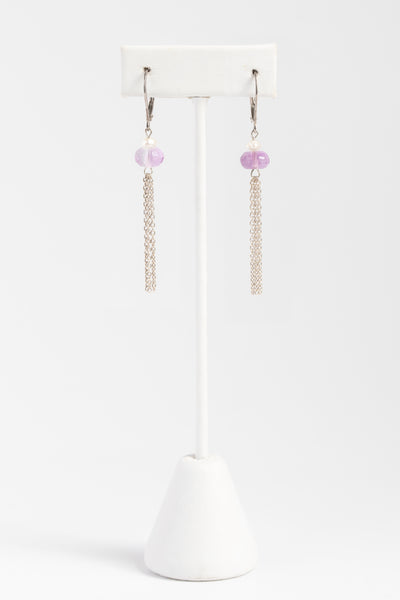 Sterling silver tassel earrings with purple fluorite gemstones and freshwater pearls, lightweight silver earrings by J'Adorn Designs custom jeweler
