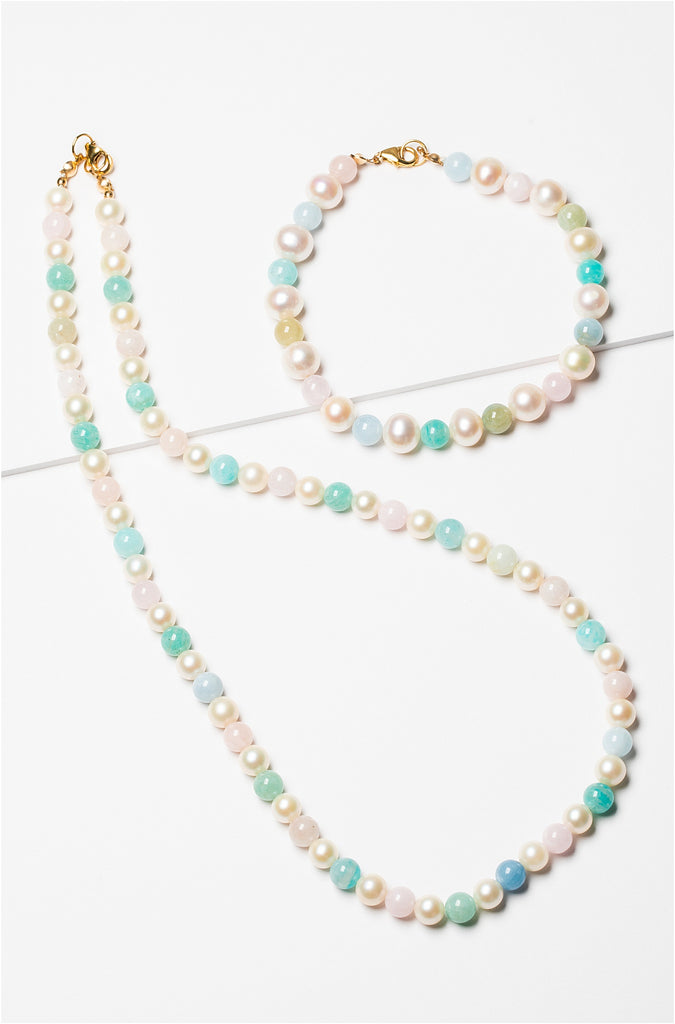 Freshwater Multi-colored Pearl Necklace with Gold Filled Clasp