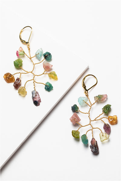 Gold branch shape earrings with rough rainbow tourmaline gemstones in a wire wrapped design with 14k gold filled lever back earrings. Handcrafted earrings made by J'Adorn Designs artisan Alison Jefferies of Baltimore, MD.