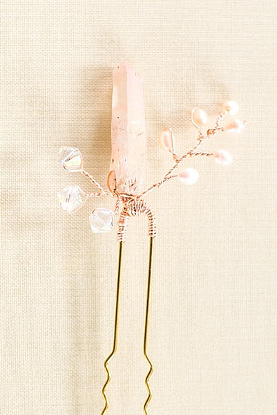 Rose gold raw crystal spike bridal hair pin, pink and rose gold bridal hair accessory, J'Adorn Designs custom bridal jewelry