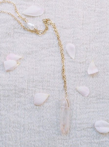 Raw crystal spike necklace, pink and gold crystal spike necklace, rose quartz spike necklace by J'Adorn Designs custom jeweler